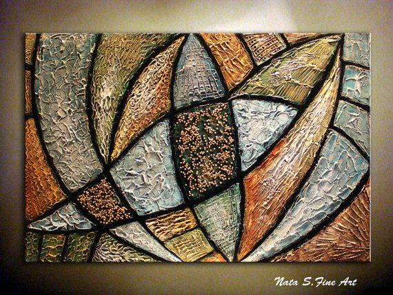 Pesado textura decoración abstracta Painting.Modern Art