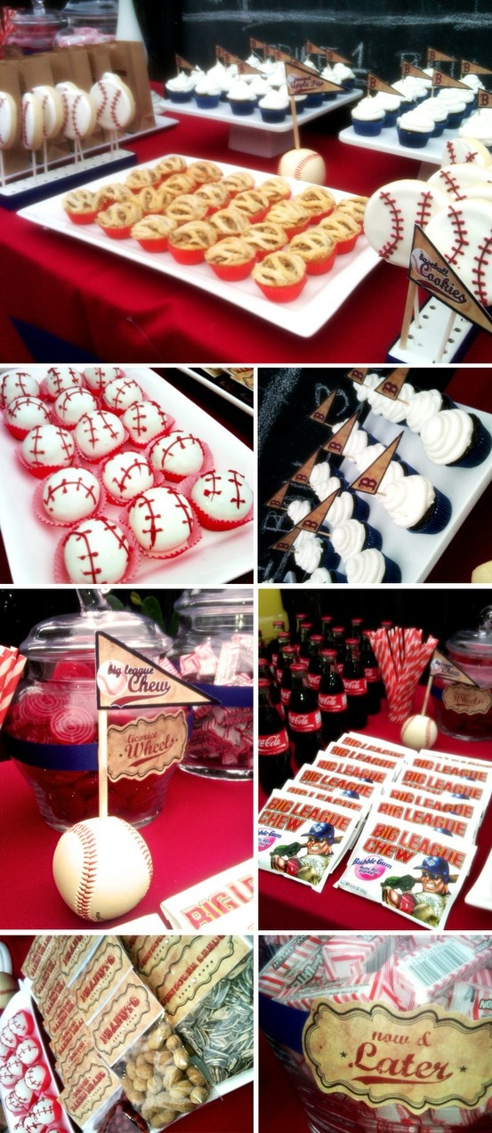 sports party ... like the baseball cupcakes  cookies  peanut/ sunflower snack packs (maybe favor for adults)