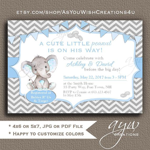 Elephant Baby Shower Invitation For A Boy Little Peanut Baby