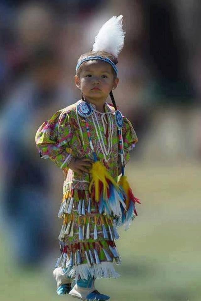 Precious little Native American Indian girl in jingle dress;-)