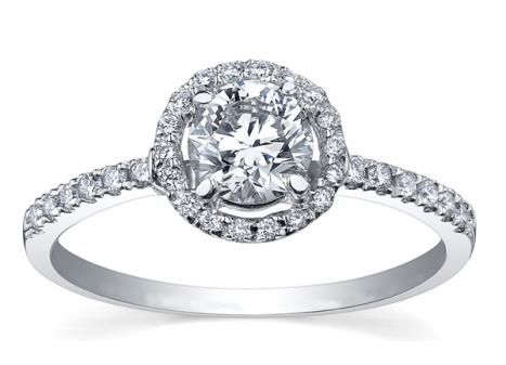 GLACIER FIRE CANADIAN DIAMOND .60CTW HALO ENGAGEMENT RING