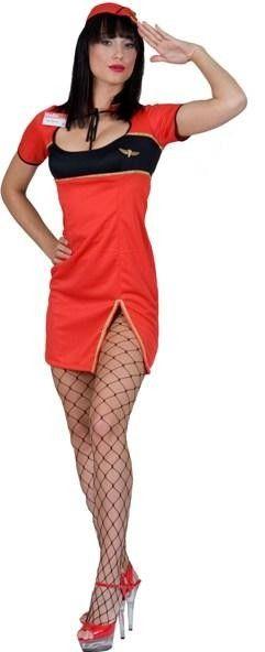 Costume hôtesse de l'air rouge sexy femme, déguisement femme