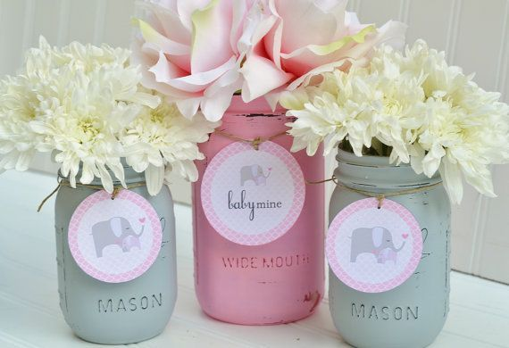 Baby Shower Decorations - Baby Shower Decor - Pink and Grey - Elephant - Baby Mine - Pink and Gray,  Baby Girl, Mason Jar Centerpiece