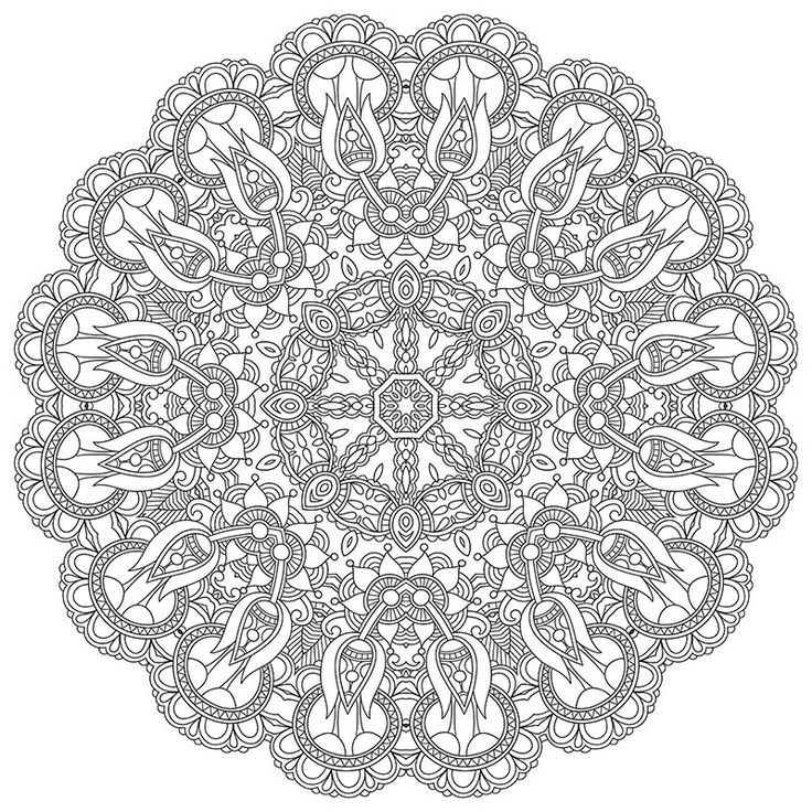 High Resolution Mandala Coloring Image For Stress Relief Free Download PDF Format Happiness Never
