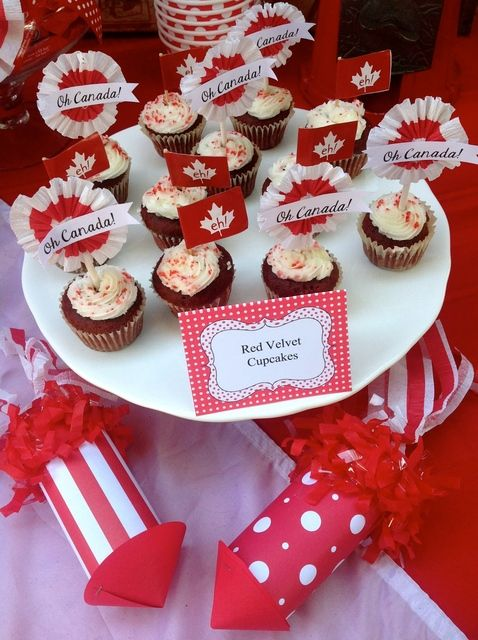 Decorated cupcakes at a Canada Day party!  See more party ideas at CatchMyParty.com!