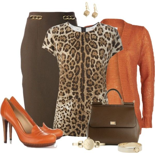 Brown pencil shirt with leopard blouse and orange cardigan for hot DYT Type 3 style.