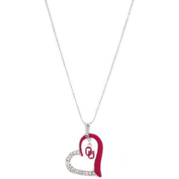 Oklahoma Sooners Heart Pendant Necklace at mimiamor.com.