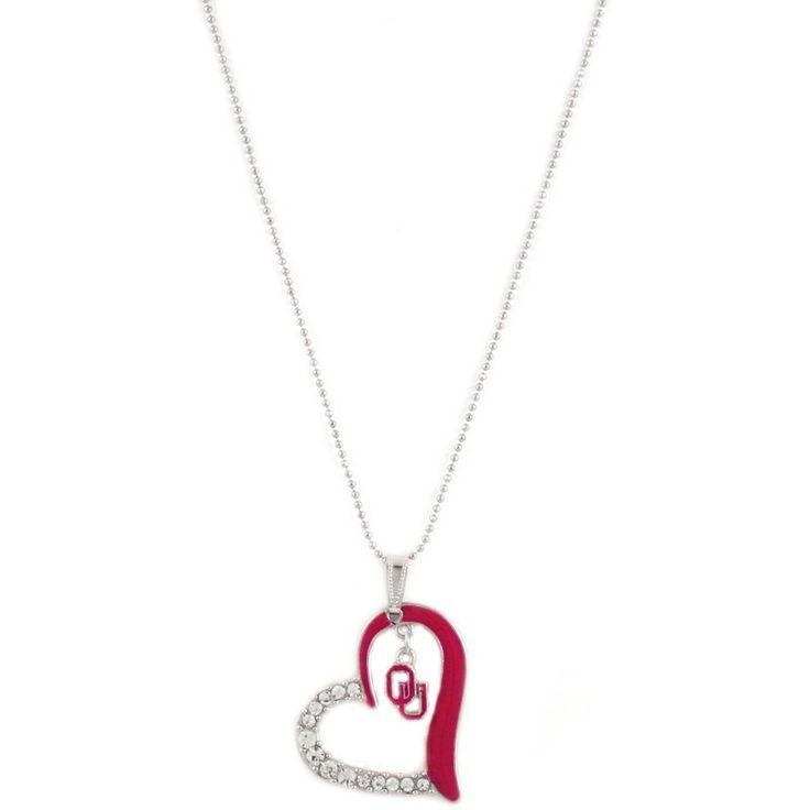 Oklahoma Sooners Heart Pendant Necklace at mimiamor.com.