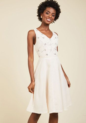 Get the safety goggles, because when you introduce your charisma to this chiffon dress, sparks will fly! White lace trimmings, touches of beads and sequins, and a gorgeous rosewater hue characterize this ModCloth-exclusive A-line, making it a perfect match to your dazzling personality.