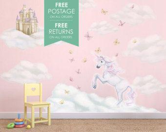 Decalcomanie di unicorno arcobaleno decal adesivi da parete