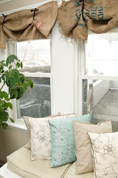 Burlap sacks or coffee sacks can be used as curtains and add