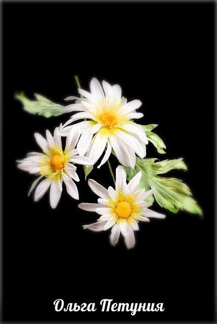 из шёлка: Букетик ромашек, это нежный цветок-брошь ручной ра...