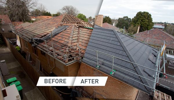 A before and after shot showing a newly renovated roof – featuring Monier Terracotta Nullarbor – Colour: Slate Grey