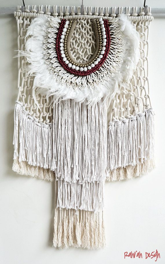 Contemporany Macrame tribal veer kunst aan de muur door RanranDesign