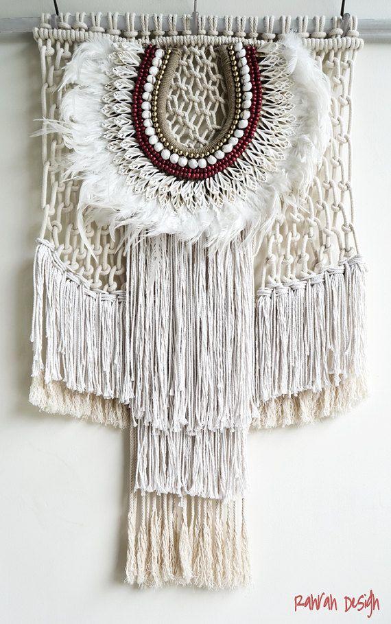 Contemporany Macrame tribal veer kunst aan de muur door RanranDesign