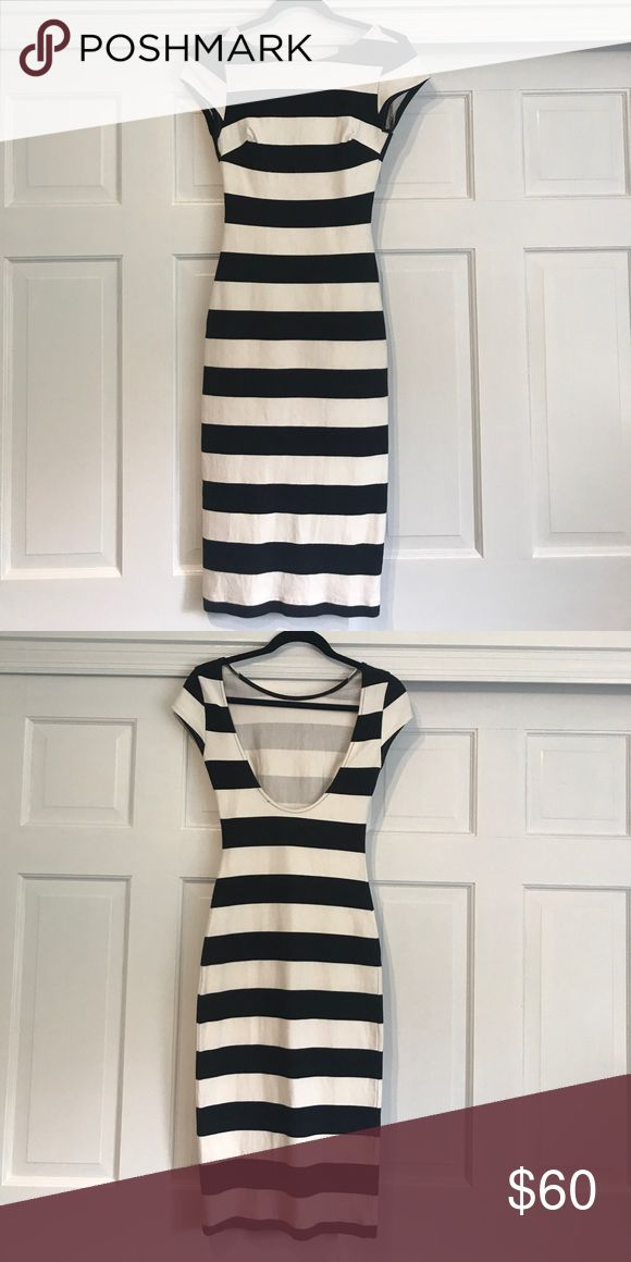 Zara striped dress Never worn. Form fitting, stretch material, tea length, perfect condition, scoop back, cap sleeves Zara Dresses Midi