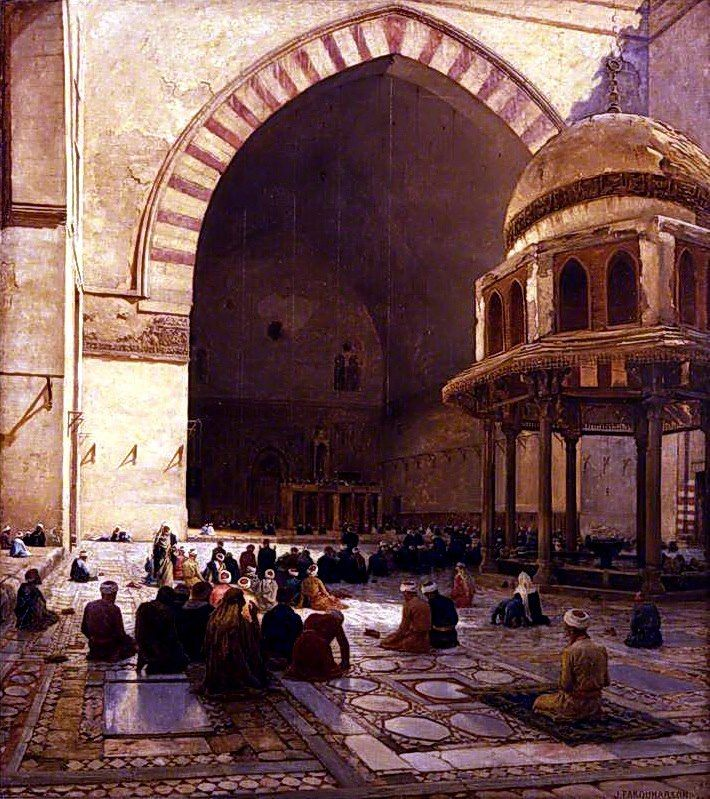 The Hour of Prayer 1888  (Interior of the Mosque of Sultan Hassan, Cairo)  by Joseph Farquharson ( British - 1846–1935 )  Oil on canvas, 173.5 x 154.4 cm