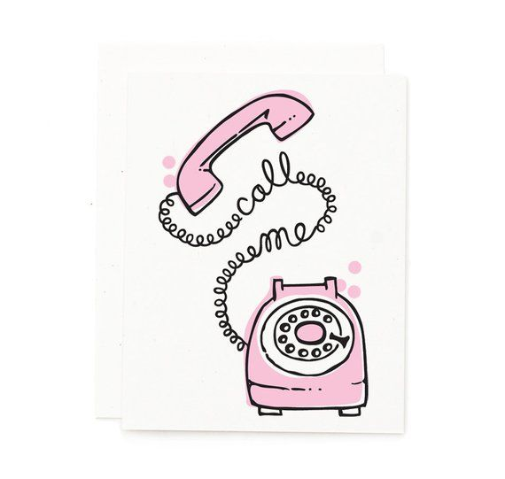Call Me Retro Card Rotary Phone Vintage Card Cute Card Pink Card Pink Rotary Phone Ill Hand Lettering Cards Pink Cards Vintage Cards