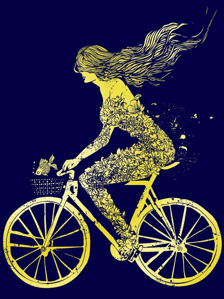 Mermaid tee, Fairy shirt, pixy, bicylce shirt, flower tee, goldfish, Navy scoop neck, Available S M L XL 2XL. $23.00, via Etsy.