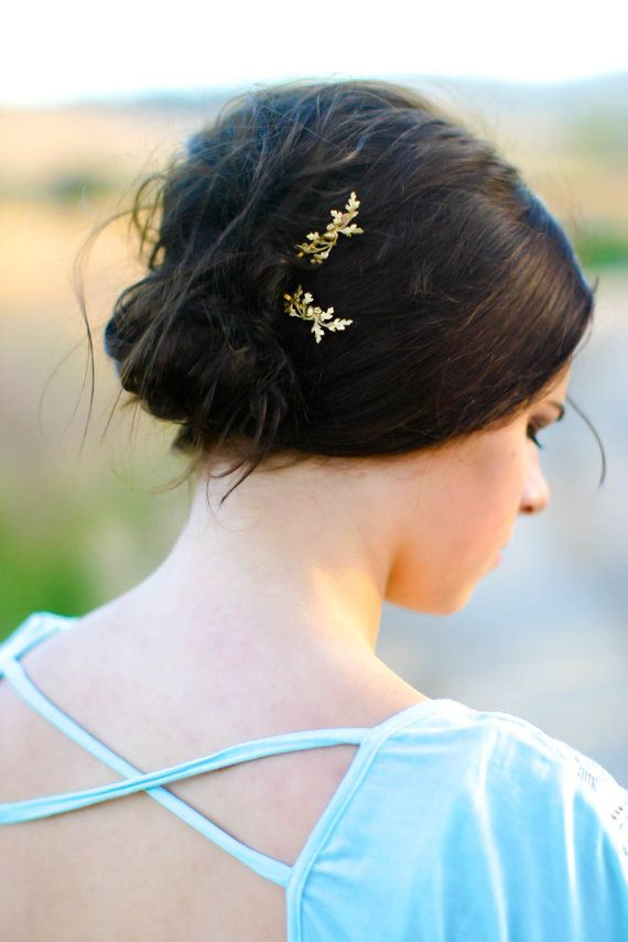 Dainty Oak Leaf & Acorns Hair Pin Gold Oak Branch Leaves Hair Clip Branch Bobby Pin Oak Leaf Hair Accessory Woodland Wedding Gift For Her These pins