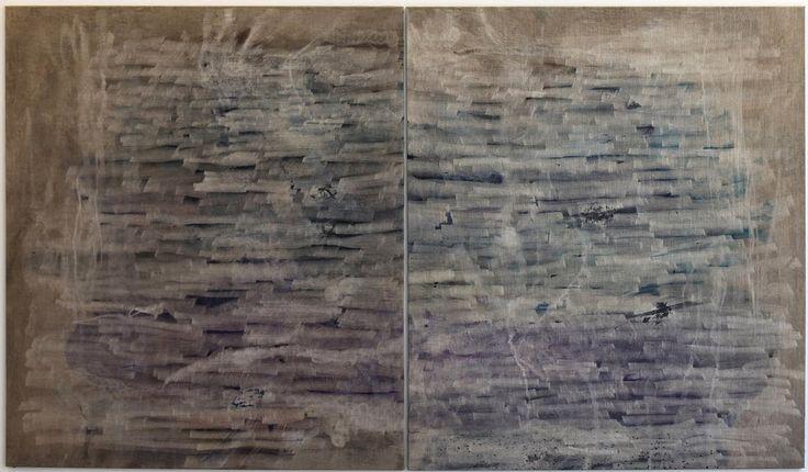 Heidi Lampenius: Never let me go, 2014, muste ja akryyli kankaalle, 190x360 cm - Galleria Sinne