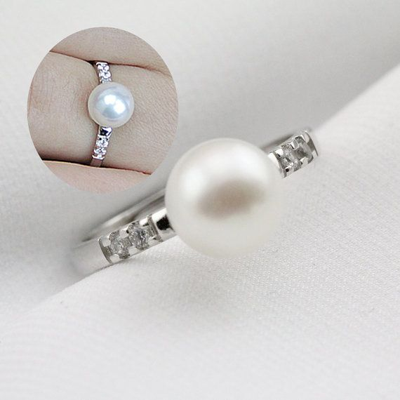Pearl wedding rings for womenopen pearl ringinexpensive
