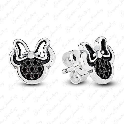 5e82abcc6 Gemstar Jewellery Black Simulated Diamond Two Tone Gold Finishing Minnie  Mouse Icon Disney Stud Earrings