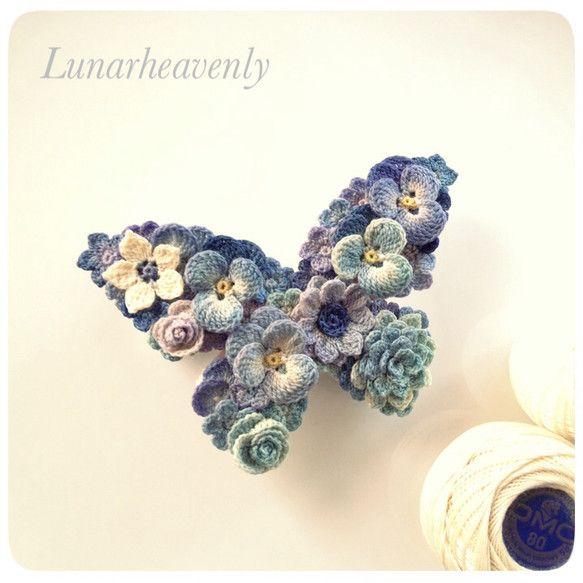 蝶々のバレッタ レース編み crochet flower butterfly hairclip or broach inspiration