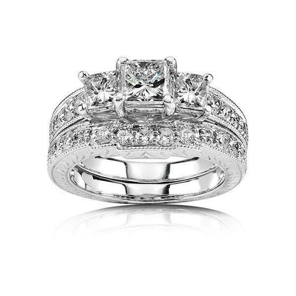 Lovely  Carat Princess cut Diamond Antique Three Stone Bridal Set on K White Gold