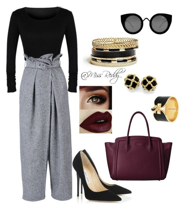 In the office by missreddy on Polyvore featuring polyvore, fashion, style, STELLA McCARTNEY, Jimmy Choo, Furla, GUESS, Juicy Couture and Quay