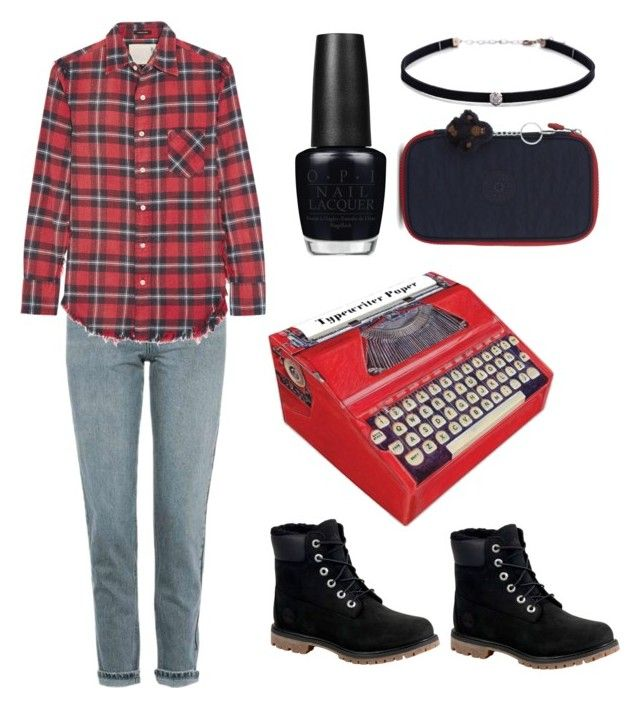 """""""fall mi-terms in the 90's"""" by fredfou on Polyvore featuring mode, Topshop, Chronicle Books, R13, Timberland, OPI, Carbon & Hyde, Kipling, grunge et 90s"""