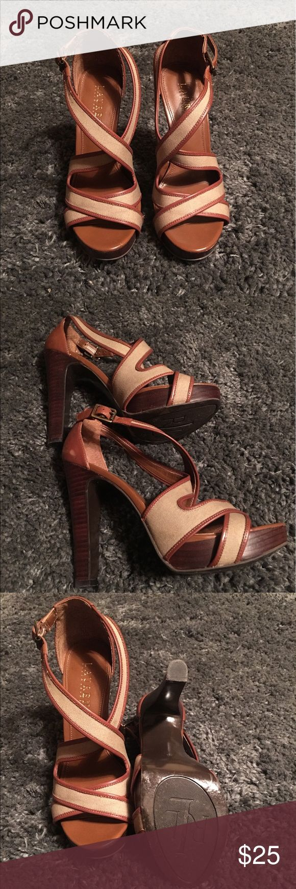 """Ralph Lauren Strapped Heels - Size 7B These beautiful Ralph Lauren heels sport a 4 1/2"""" heel with a 1"""" platform. The straps are made of tan canvas trimmed in brown leather. Ralph Lauren Shoes Heels"""