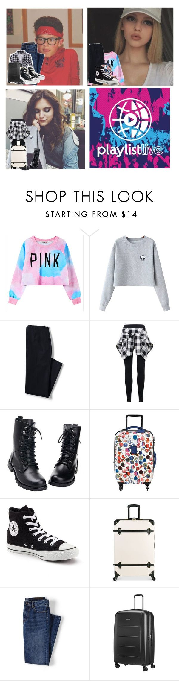 """Playlist live Orlando"" by b-ookworm ❤ liked on Polyvore featuring Chicnova Fashion, Lands' End, Longchamp, Converse, Diane Von Furstenberg and Samsonite"