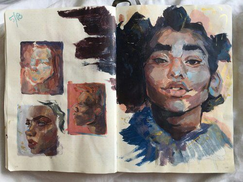 Humans/// sketchbook// studies work/ #sketchbook #art #sketch #guache #sketchbookstudy #people