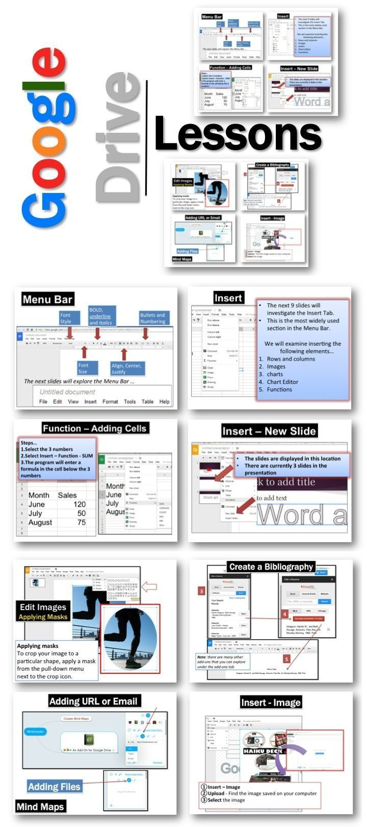 These lessons contains screen shots, activities, marking schemes, tips and instructions for using Documents, Presentations, Spreadsheets, Drawings and Forms within Google Drive.