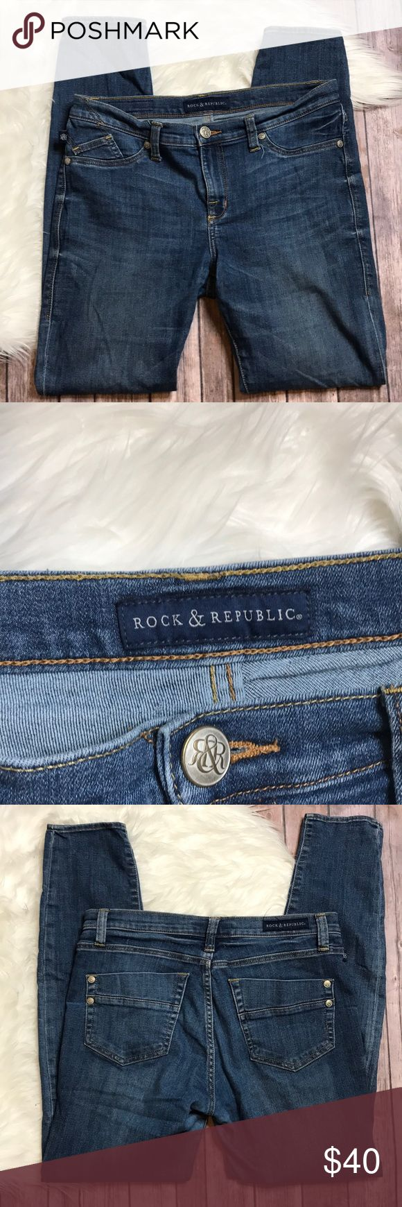 """Rock & Republic Jeans Size 12L Waist 16"""" Inseam 30"""" Length 40"""" Pre-owned with no defects see pictures for details.   If you have any questions, or need measurements please feel free to ask and we will respond in a timely manner. Rock & Republic Jeans Skinny"""