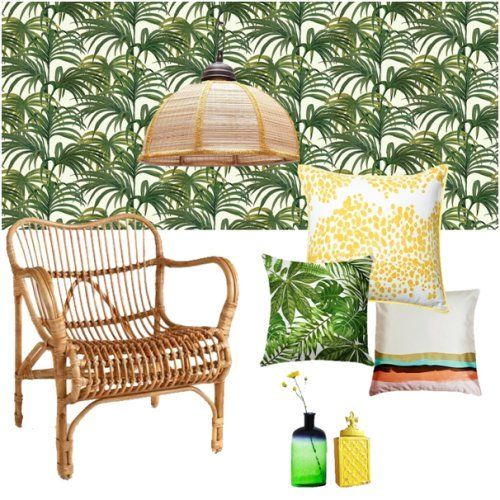 As the name suggests, this mood board is heavy on the palm leaf pattern! Read more on our blog  #tropical #palmleaf #serenity #discernliving