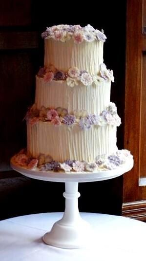 Wedding Cake using Meadowsweet Crystallised Flowers by Kathleen at Little Black Cat Cakes.
