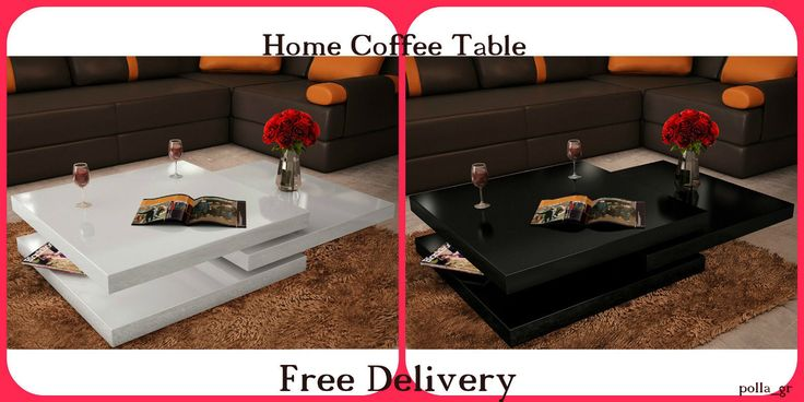 Coffee Table Black or White Contemporary Square 3 Layers Home Modern Furniture | eBay