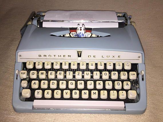 Azul vintage máquina de escribir portátil brother máquina de