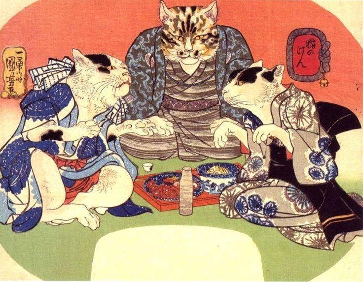 Janken of Cats (Neko no ken) / Utagawa Kuniyoshi (Japanese Ukiyo-e Printmaker, ca.1797-1861)