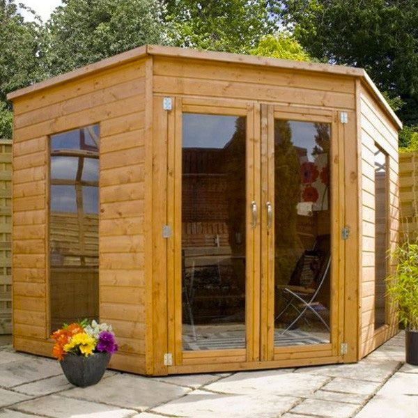 x contemporary corner shiplap pent wooden garden summerhouse brand new tongue and groove wood summerhouses corner sheds