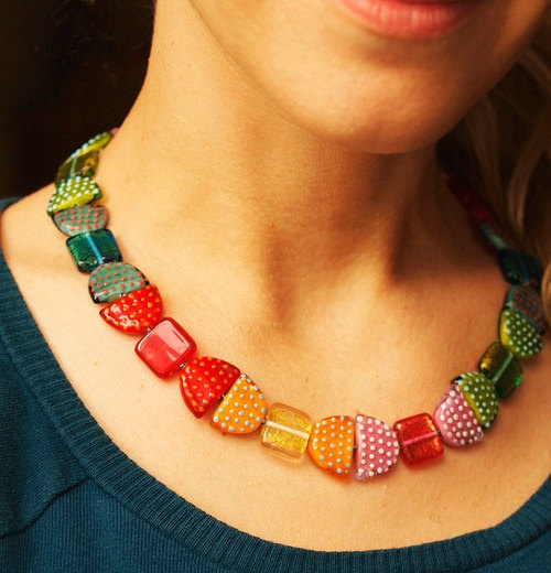 COLOUR DELIGHT  & gold - lampwork sterling silver necklace. $195.00, via Etsy.