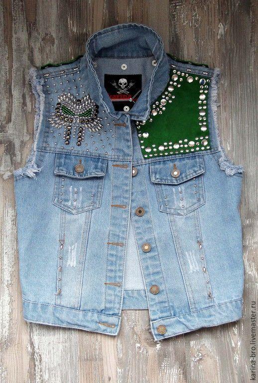 """Купить Джинсовый жилет """"Green"""" - голубой, рисунок, джинса, джинсовый стиль, жилетка, одежда с рисунком"""