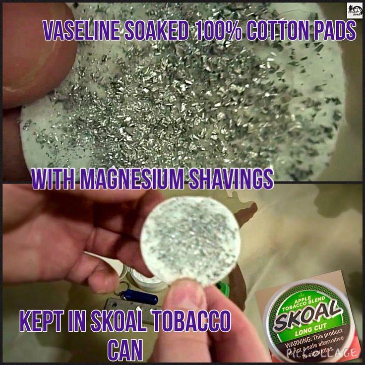 #Firestarter  Vaseline soaked & magnesium shavings covered 100% cotton pads   Kept in Skoal tobacco can