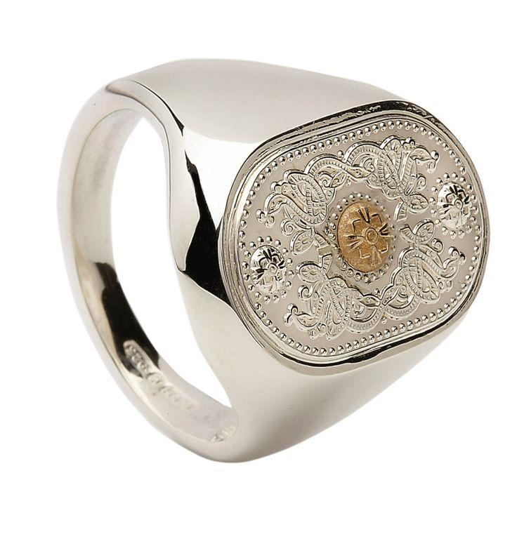 Gents Signet Ring (20mm Gold Boss) #houseoflor #irishjewelry #irishgold #ring #sterlingsilver #arda #handmade #celticjewelry
