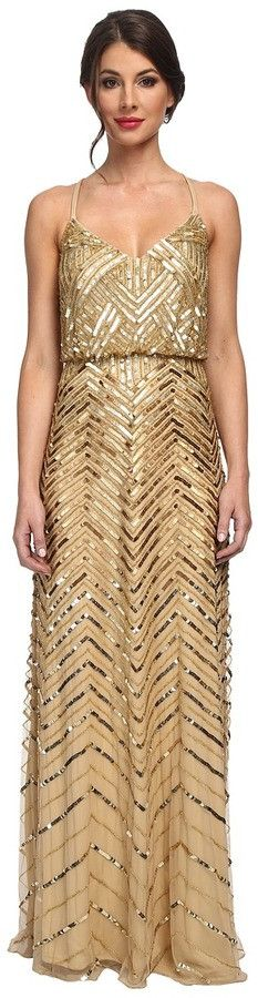 Adrianna Papell Chevron Beaded Blouson Gown - Gold