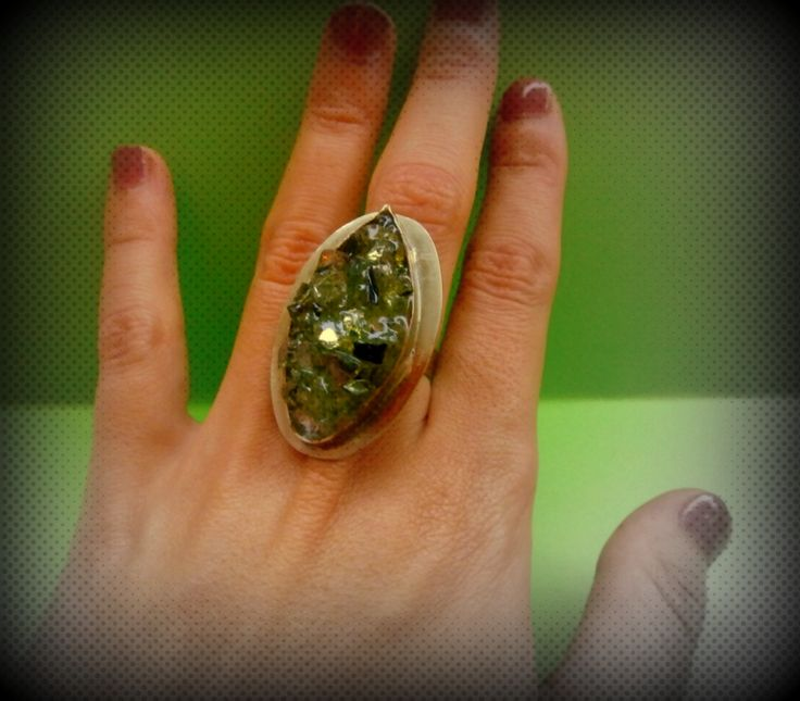 Ring made with glass paste, epoxy,  green color by Handmademyth on Etsy