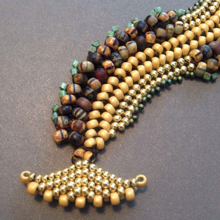"Seed bead woven bracelet. Flat Herringbone. My "" Spur of the Moment"" design. Beth Stone"
