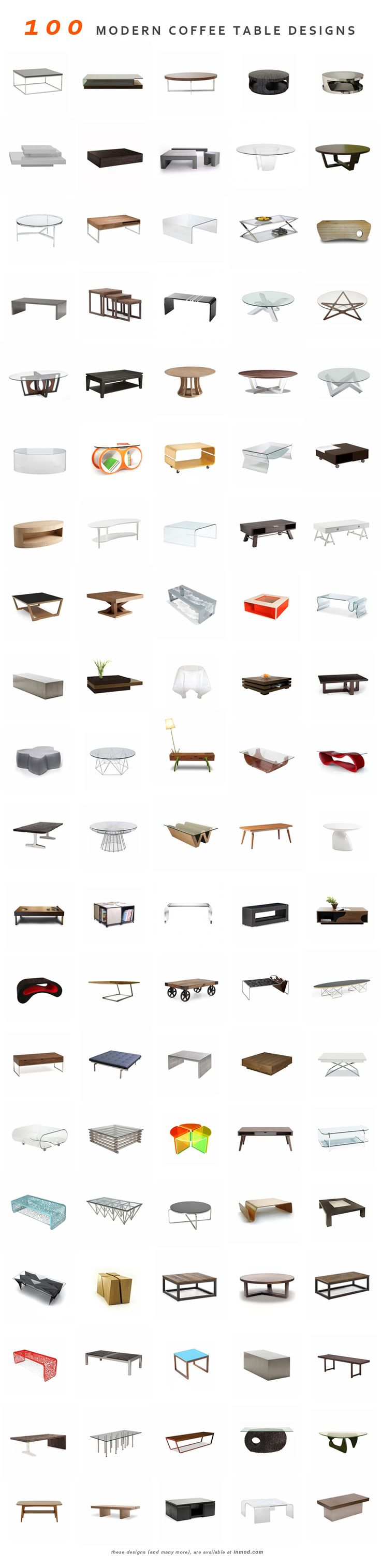 100 Modern coffee tables (and many more) at Inmod (http://www.pinterest.com/AnkAdesign/collection-6/)